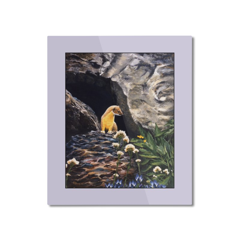 Springtime for Weasel Home Mounted Aluminum Print by Ferine Fire