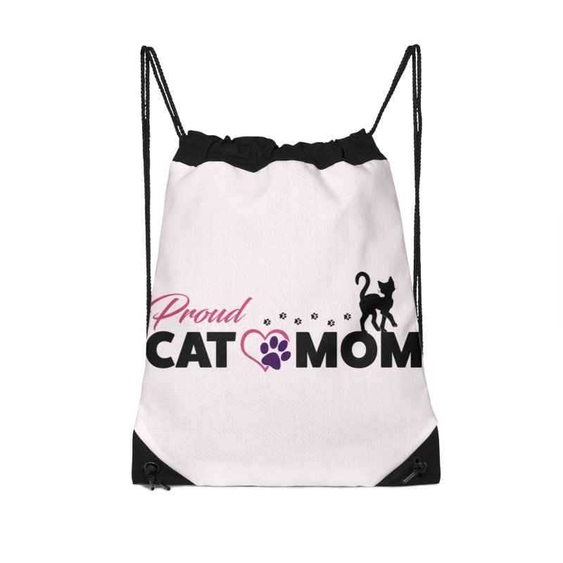 Proud Cat Mom Accessories Drawstring Bag Bag by Ferine Fire