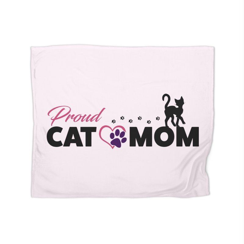 Proud Cat Mom Home Fleece Blanket Blanket by Ferine Fire