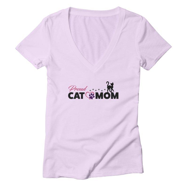Proud Cat Mom Women's Deep V-Neck V-Neck by Ferine Fire
