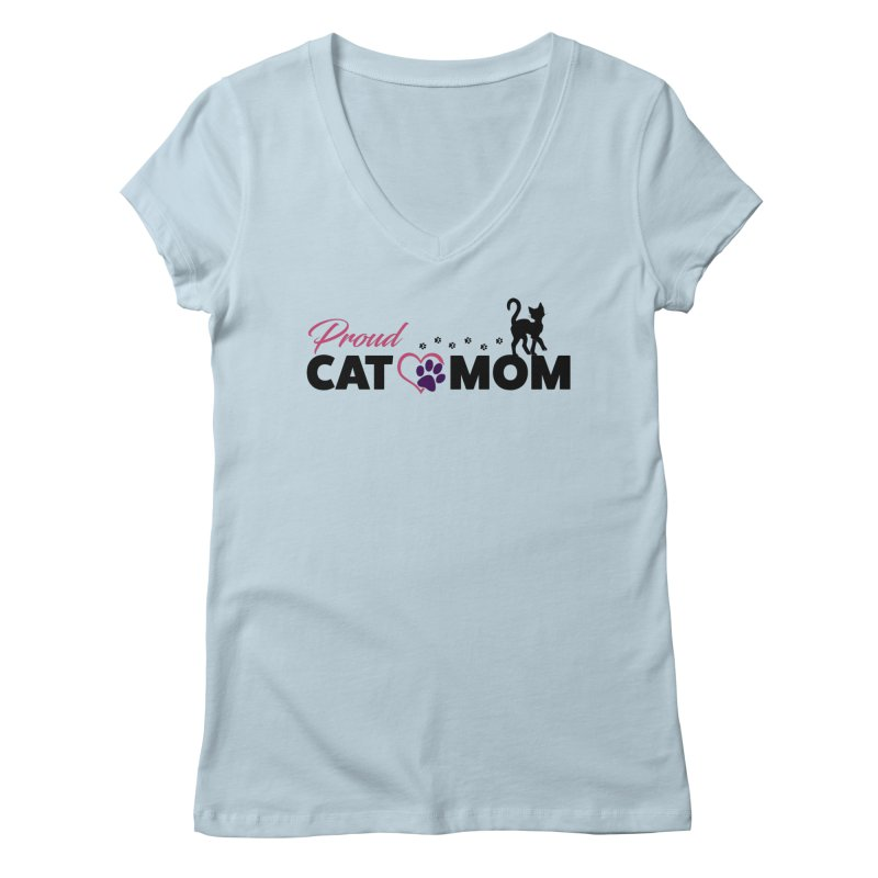Proud Cat Mom Women's Regular V-Neck by Ferine Fire