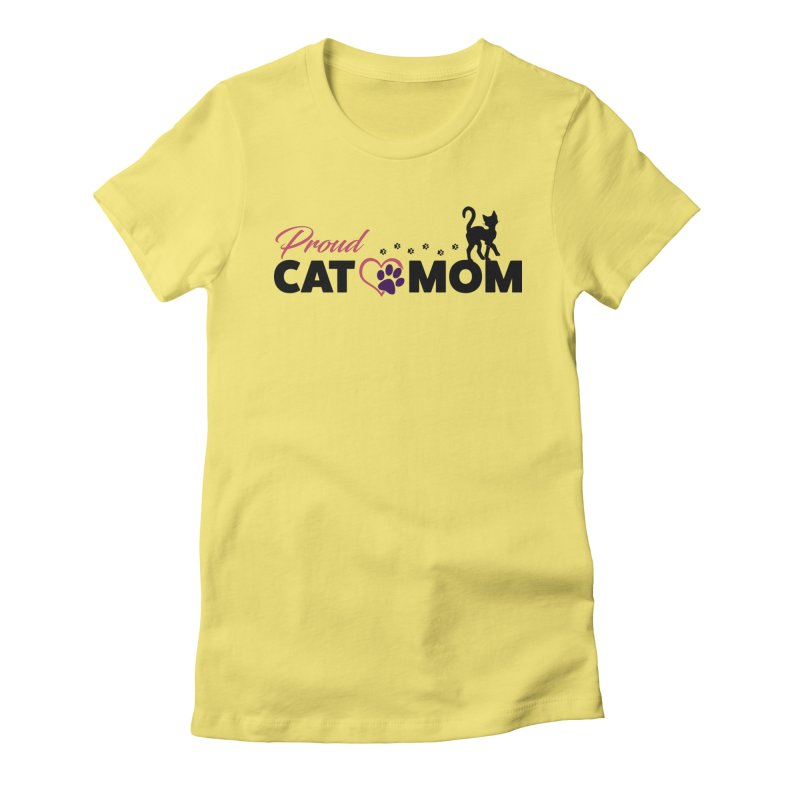 Proud Cat Mom Women's Fitted T-Shirt by Ferine Fire
