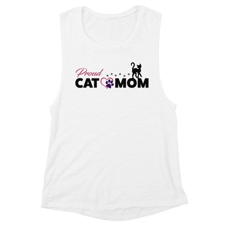 Proud Cat Mom Women's Muscle Tank by Ferine Fire