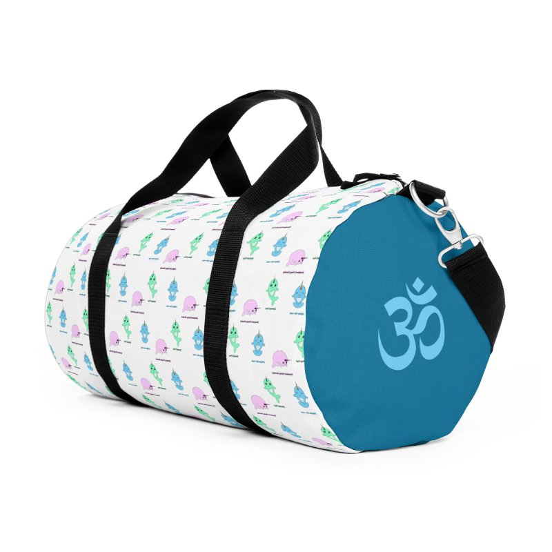 Narwhals Doing Yoga in Duffel Bag by Ferine Fire