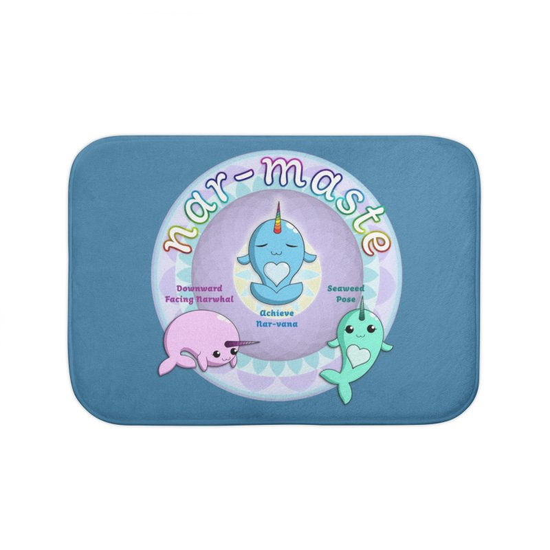 Narwhals Doing Yoga Home Bath Mat by Ferine Fire