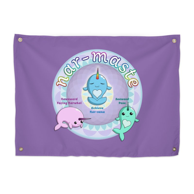 Narwhals Doing Yoga Home Tapestry by Ferine Fire