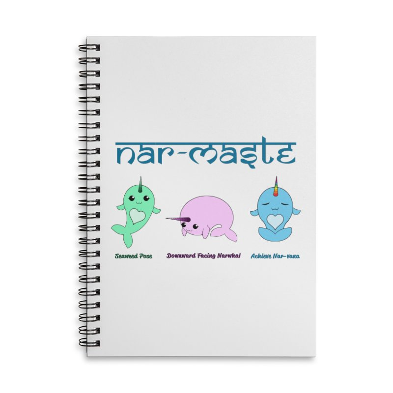 Narwhals Doing Yoga Accessories Lined Spiral Notebook by Ferine Fire
