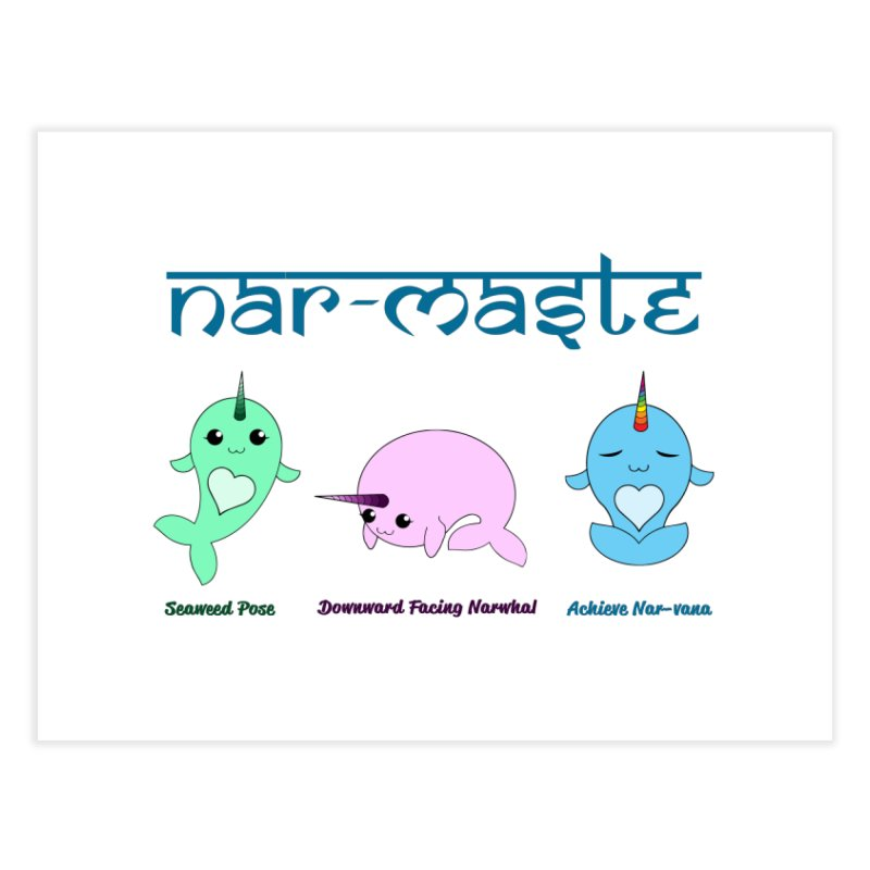 Narwhals Doing Yoga Home Fine Art Print by Ferine Fire