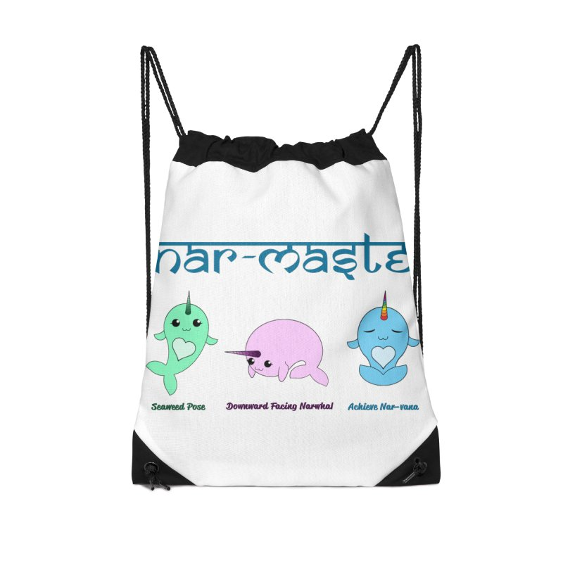 Narwhals Doing Yoga Accessories Drawstring Bag Bag by Ferine Fire