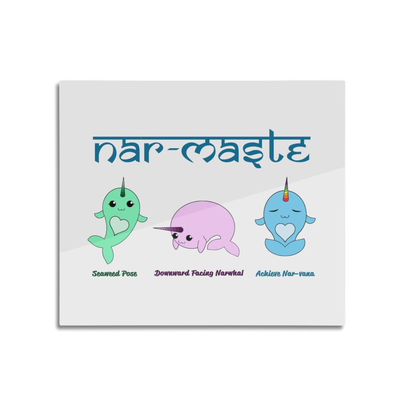 Narwhals Doing Yoga Home Mounted Aluminum Print by Ferine Fire