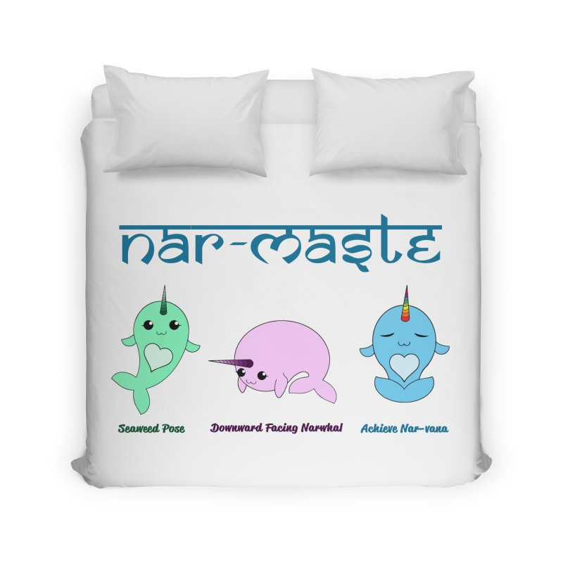 Narwhals Doing Yoga Home Duvet by Ferine Fire