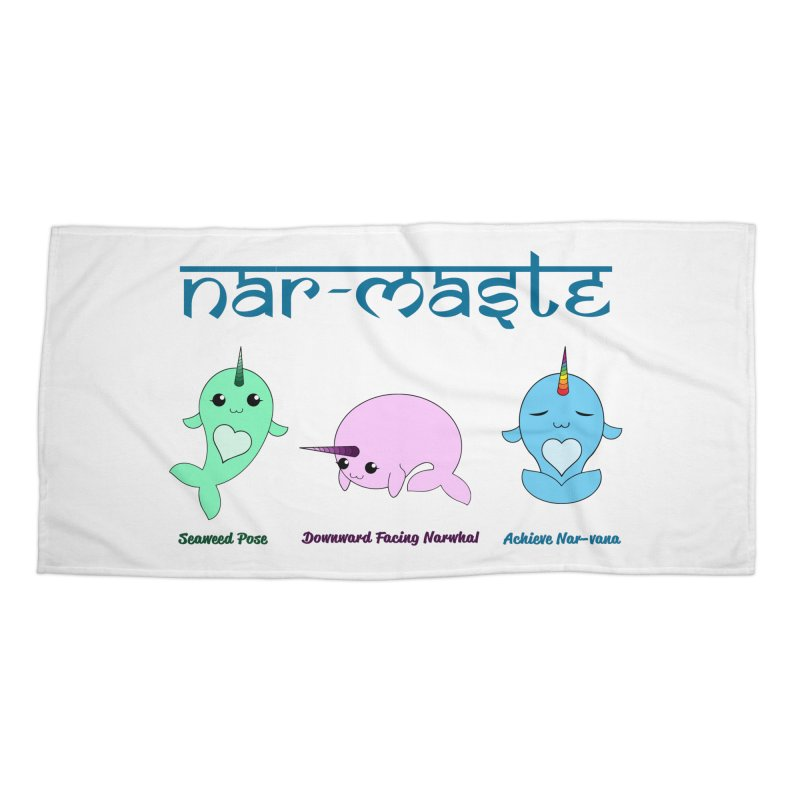 Narwhals Doing Yoga Accessories Beach Towel by Ferine Fire