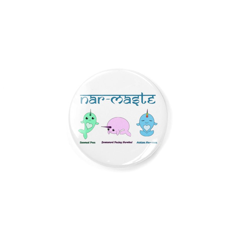 Narwhals Doing Yoga Accessories Button by Ferine Fire