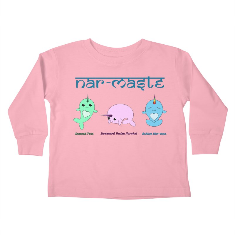 Narwhals Doing Yoga Kids Toddler Longsleeve T-Shirt by Ferine Fire