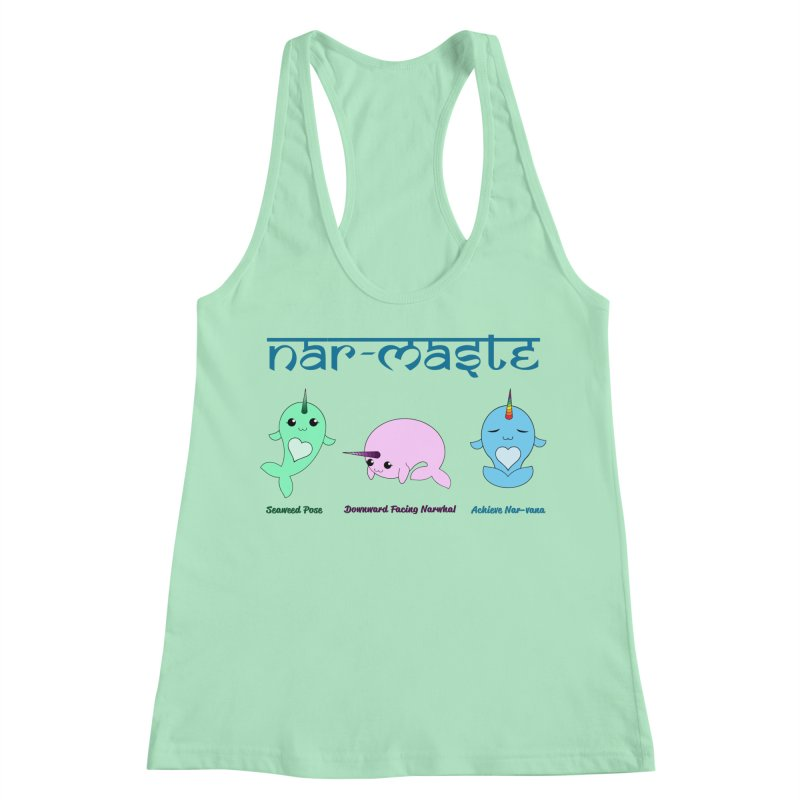 Narwhals Doing Yoga Women's Racerback Tank by Ferine Fire