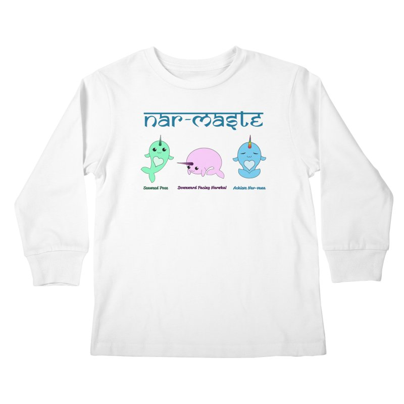 Narwhals Doing Yoga Kids Longsleeve T-Shirt by Ferine Fire