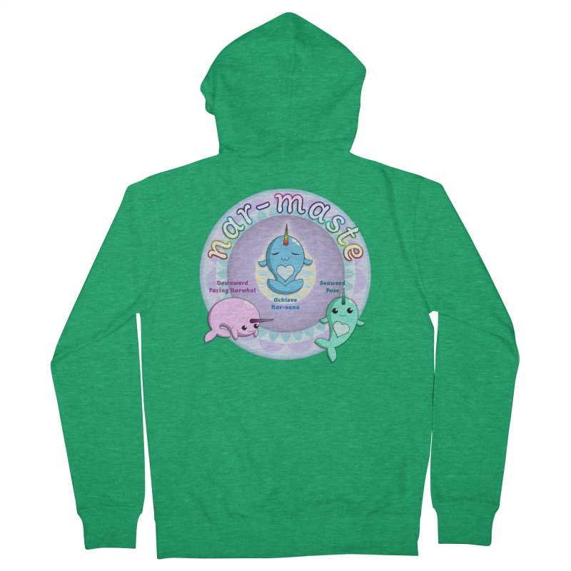 Narwhals Doing Yoga Men's French Terry Zip-Up Hoody by Ferine Fire