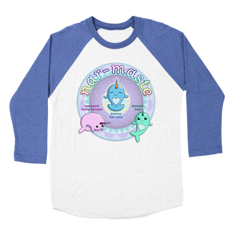 Narwhals Doing Yoga Women's Baseball Triblend Longsleeve T-Shirt by Ferine Fire