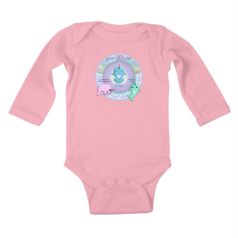 Narwhals Doing Yoga Kids Baby Longsleeve Bodysuit by Ferine Fire