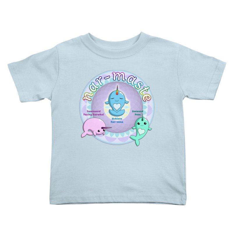 Narwhals Doing Yoga Kids Toddler T-Shirt by Ferine Fire