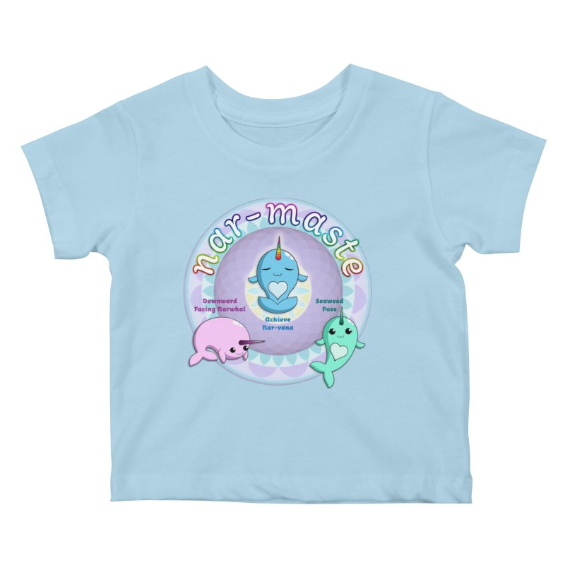 Narwhals Doing Yoga Kids Baby T-Shirt by Ferine Fire