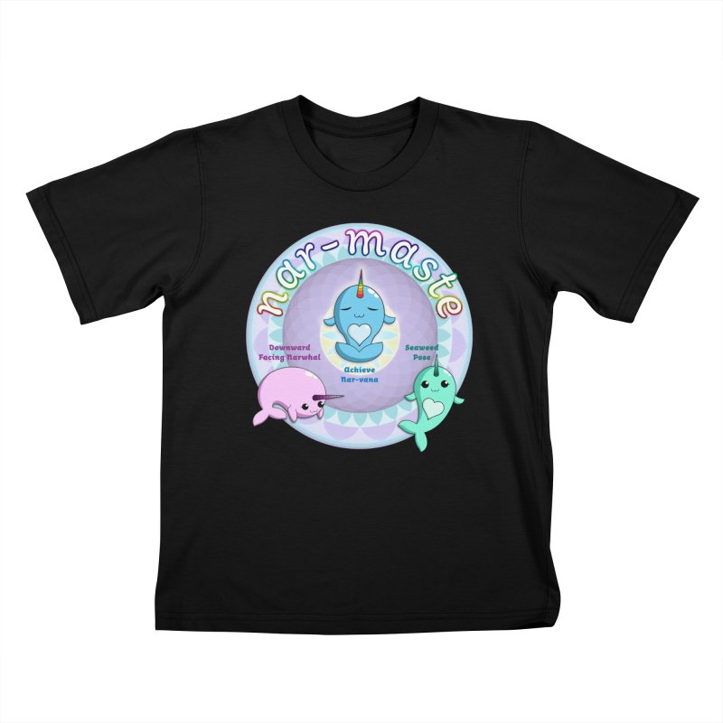 Narwhals Doing Yoga Kids T-Shirt by Ferine Fire