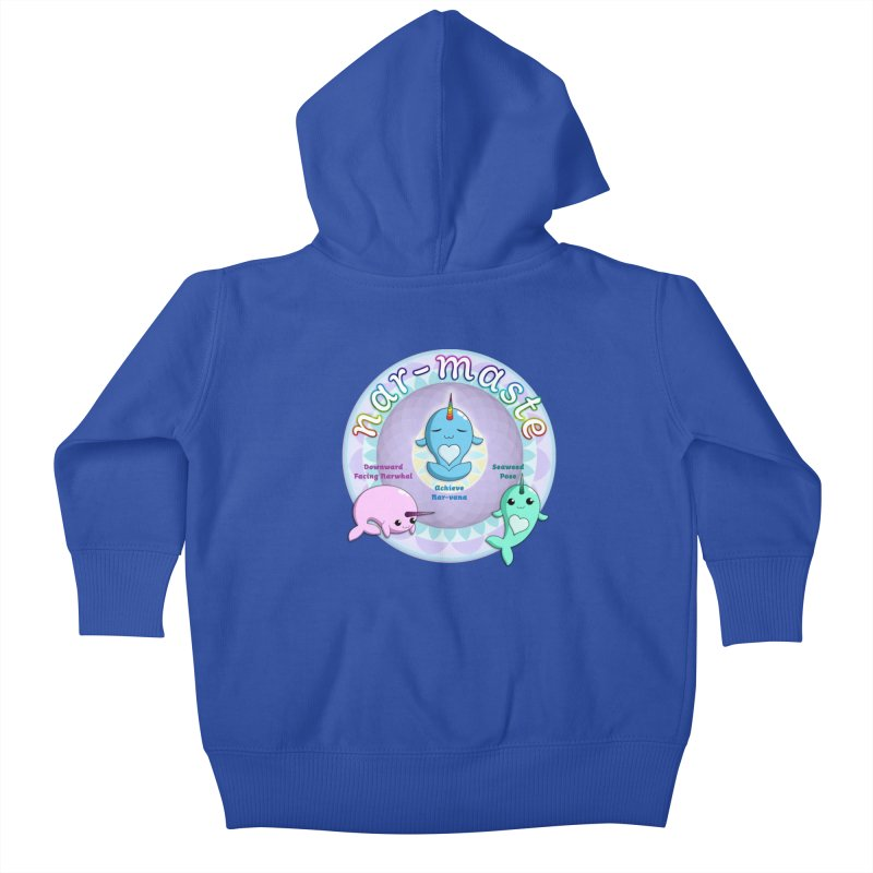 Narwhals Doing Yoga Kids Baby Zip-Up Hoody by Ferine Fire