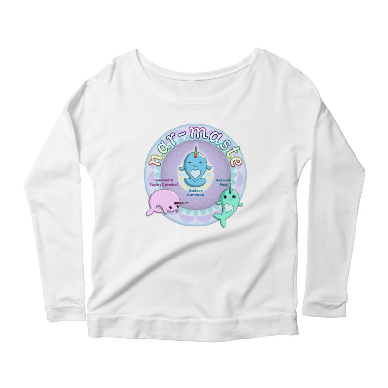 Narwhals Doing Yoga Women's Scoop Neck Longsleeve T-Shirt by Ferine Fire