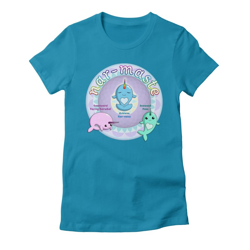 Narwhals Doing Yoga Women's Fitted T-Shirt by Ferine Fire