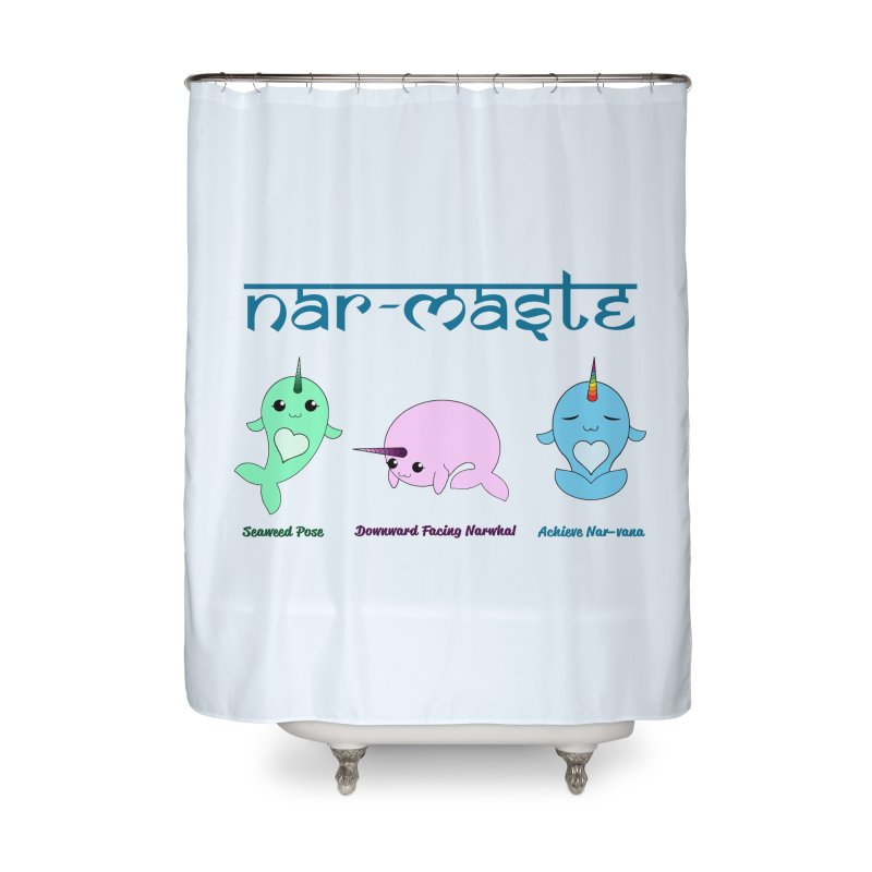 Narwhals Doing Yoga in Shower Curtain by Ferine Fire