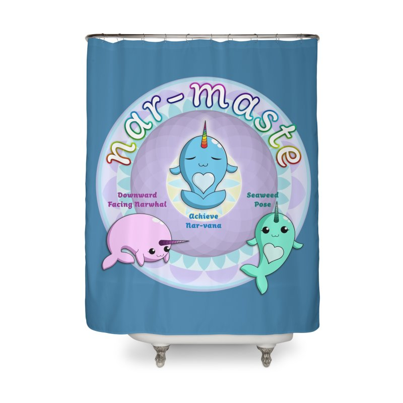 Narwhals Doing Yoga Home Shower Curtain by Ferine Fire