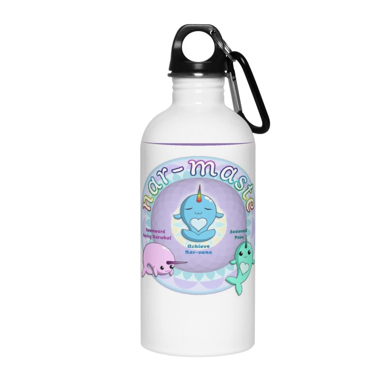 Narwhals Doing Yoga Accessories Water Bottle by Ferine Fire