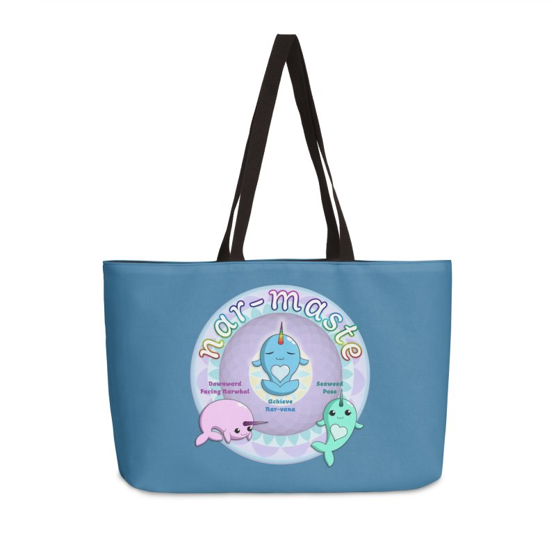 Narwhals Doing Yoga Accessories Bag by Ferine Fire