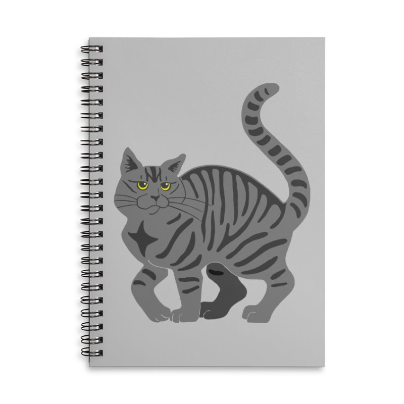 Gray Tabby Cat Accessories Lined Spiral Notebook by Ferine Fire