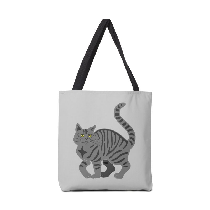 Gray Tabby Cat Accessories Tote Bag Bag by Ferine Fire