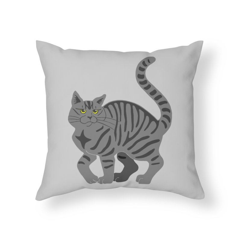 Gray Tabby Cat Home Throw Pillow by Ferine Fire