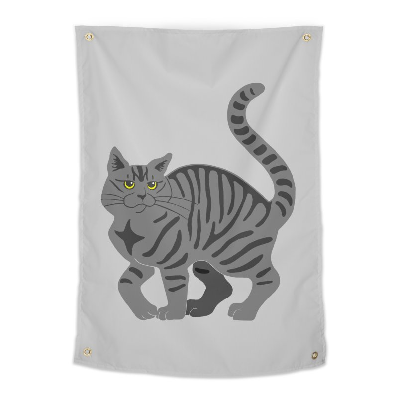 Gray Tabby Cat Home Tapestry by Ferine Fire