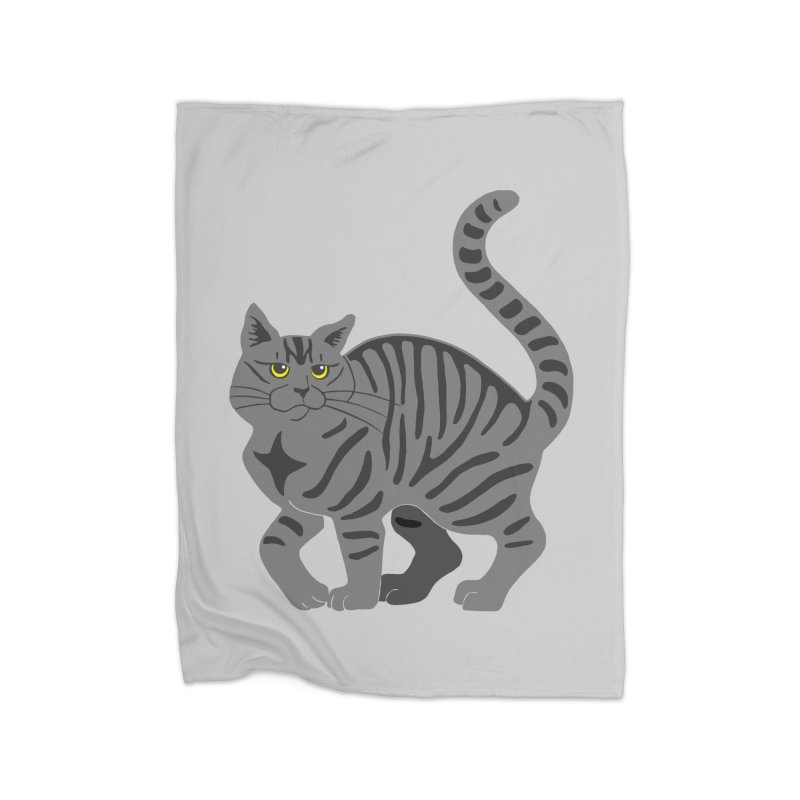 Gray Tabby Cat Home Fleece Blanket Blanket by Ferine Fire