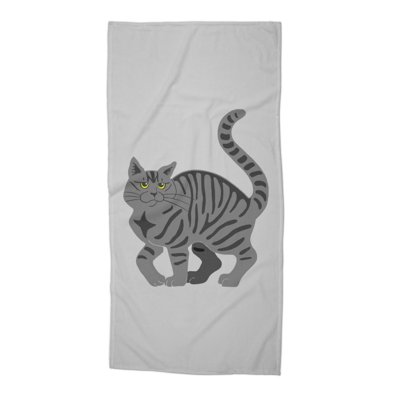 Gray Tabby Cat Accessories Beach Towel by Ferine Fire