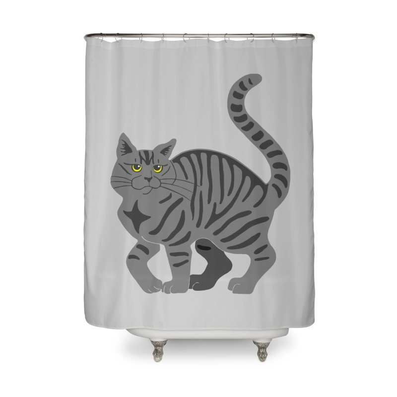 Gray Tabby Cat Home Shower Curtain by Ferine Fire