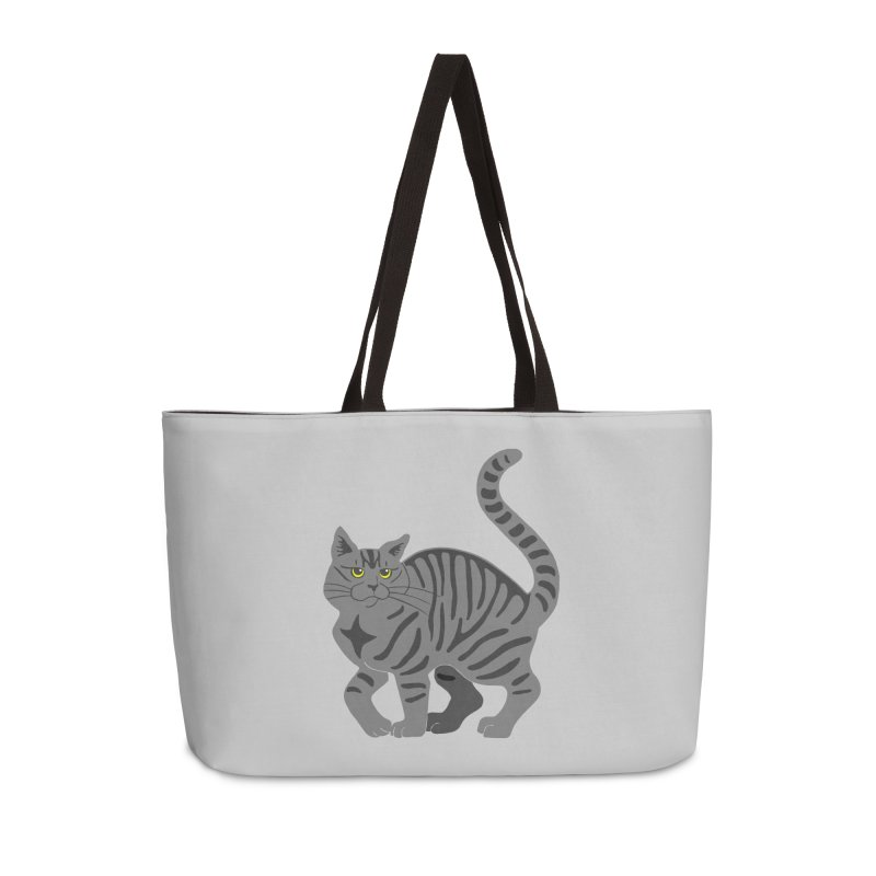 Gray Tabby Cat Accessories Weekender Bag Bag by Ferine Fire
