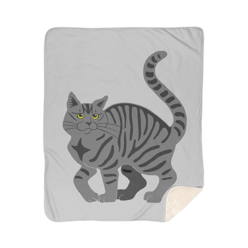 Gray Tabby Cat Home Sherpa Blanket Blanket by Ferine Fire