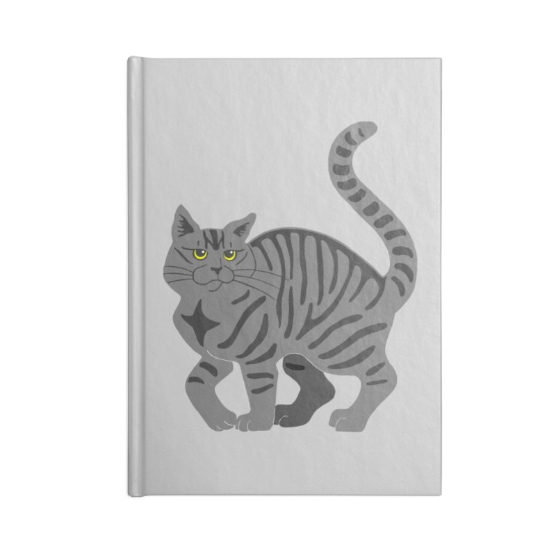 Gray Tabby Cat Accessories Blank Journal Notebook by Ferine Fire
