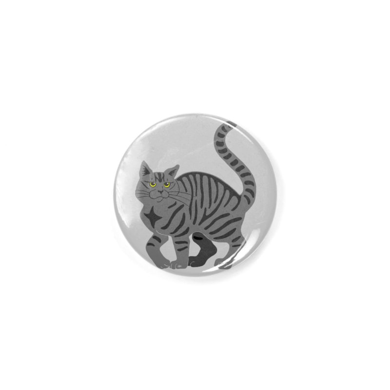 Gray Tabby Cat Accessories Button by Ferine Fire