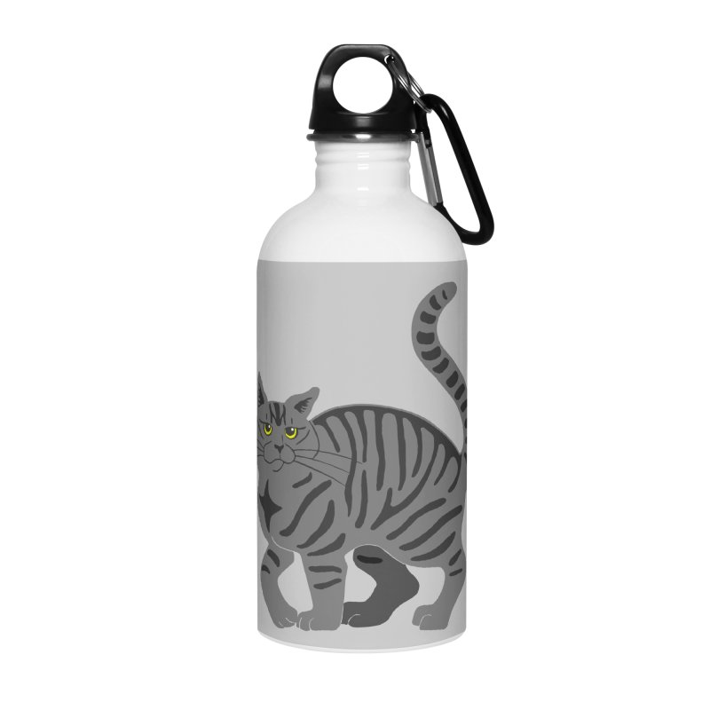 Gray Tabby Cat Accessories Water Bottle by Ferine Fire