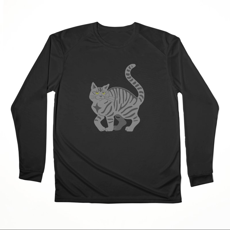 Gray Tabby Cat Men's Performance Longsleeve T-Shirt by Ferine Fire