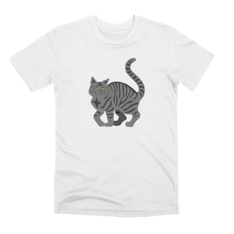 Gray Tabby Cat Men's T-Shirt by Ferine Fire