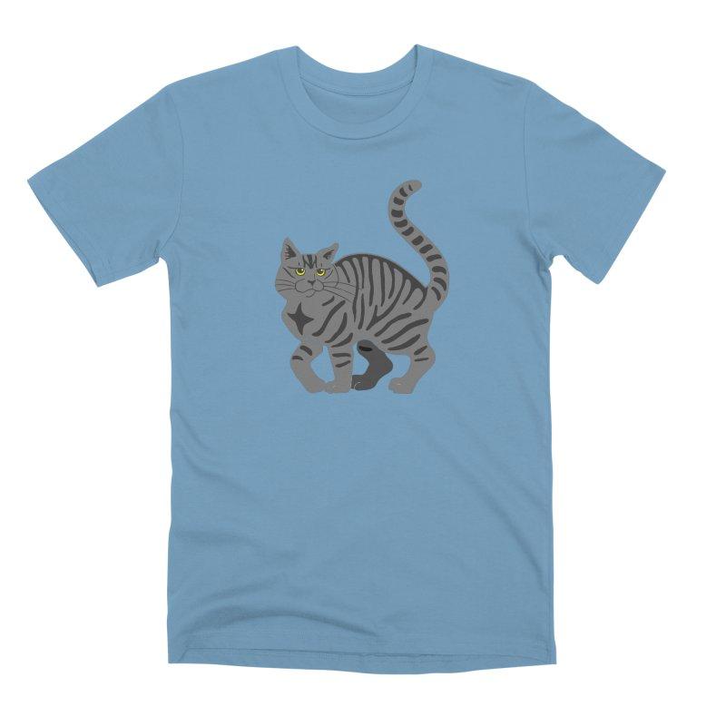 Gray Tabby Cat Men's Premium T-Shirt by Ferine Fire