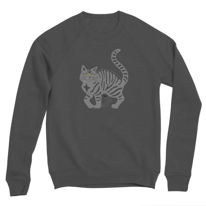 Gray Tabby Cat Men's Sponge Fleece Sweatshirt by Ferine Fire