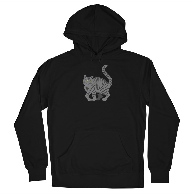 Gray Tabby Cat Women's French Terry Pullover Hoody by Ferine Fire
